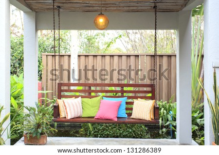 A chair in the pavilion graden - stock photo