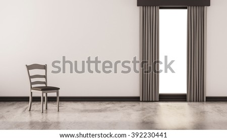A chair on concrete polished floor with white wall and isolated window, 3d rendered - stock photo