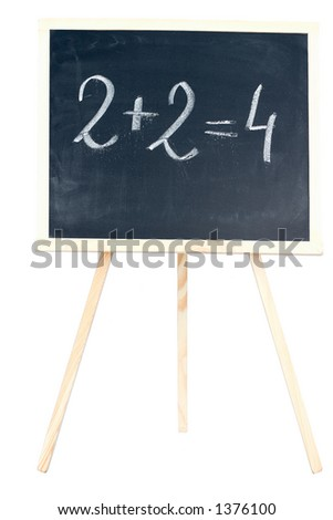"""A chalkboard on white with """"2+2=4"""" written on it. - stock photo"""