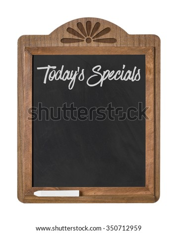 A chalkboard sign on a white background - Todays Specials - stock photo