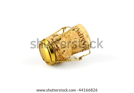 A Champagne cork with a traditional muselet. - stock photo
