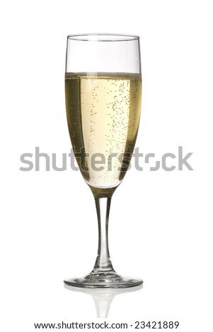A champagne flute against a white background. - stock photo