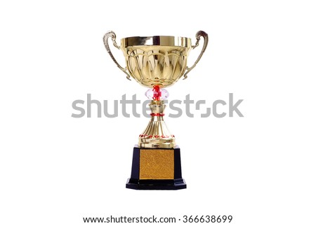 A Champion Golden Trophy on white background.