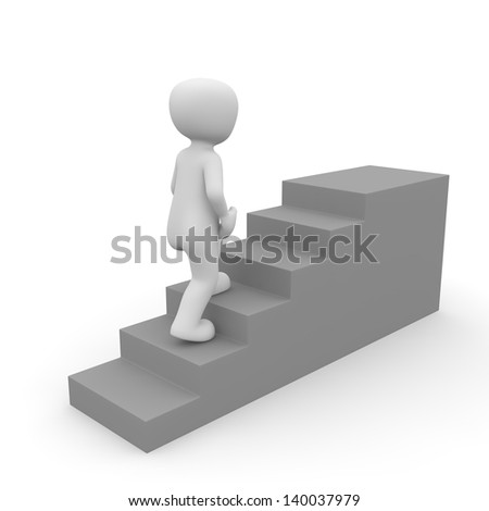 A character goes up a gray stairs.