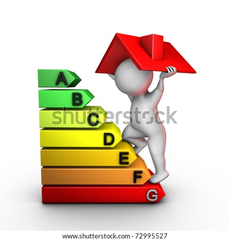 A character improves energy performance of a house - stock photo
