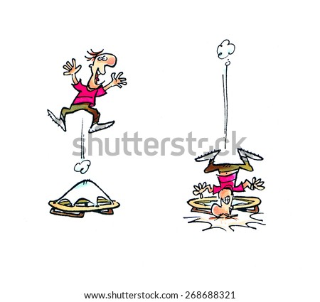 A character jumps on a trampoline in a cartoon style. - stock photo