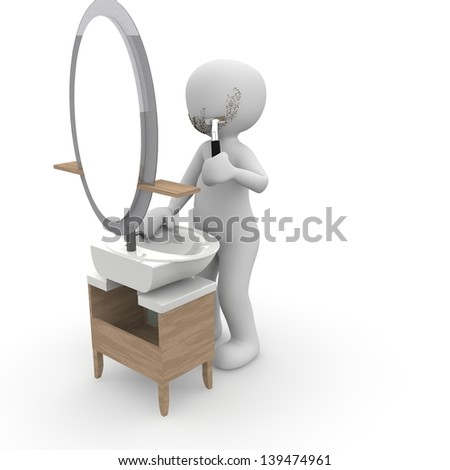 A character shaves in front of mirror.