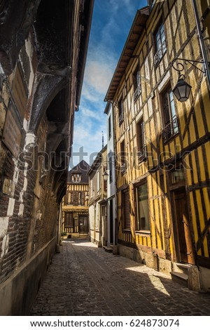 A characterisic street in Troyes France - Tudor Architecture