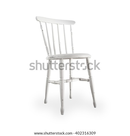 A charming old white wooden chair isolated on a white background