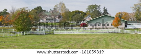 A charming pink farm in Connecticut countryside, New Preston, USA - stock photo
