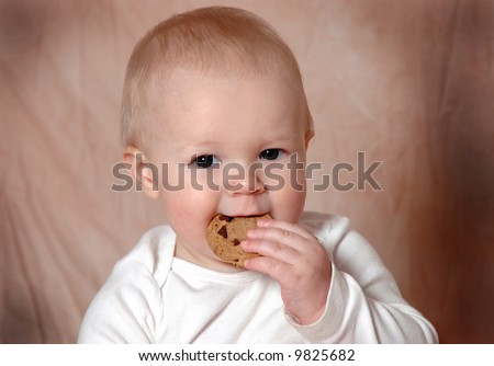 A charming portrait of a baby boy eating a cookie - stock photo
