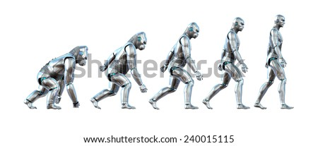 A chart showing the progression of a robot ape evolving into a robot human - 3D renders. - stock photo