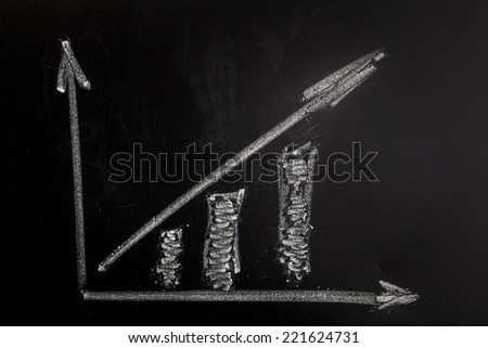 A chart shows the revenue progress of a company on a chalkboard.  - stock photo