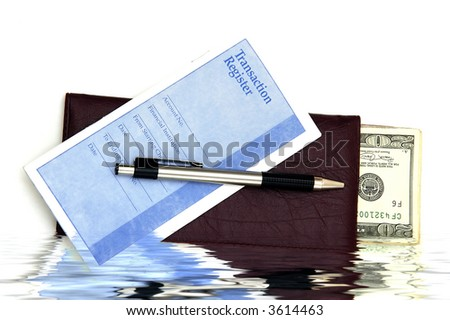A Check book, transaction register and some money against a white background - stock photo