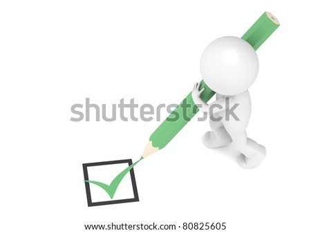 A Check Mark, a Pencil and a Little human character. - stock photo
