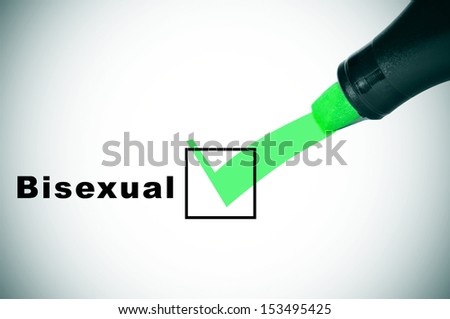 a check mark drawn with a green marker pen on a checkbox with the word bisexual - stock photo