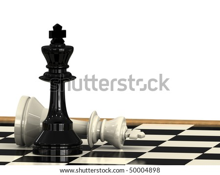 A check mate from a chess king to another on a check board - stock photo