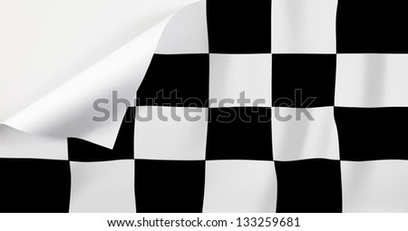 A checkered flag with a curl at the corner with blank space for text.