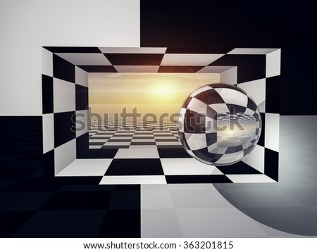 A checkered wall and entrance open to horizon and sun.