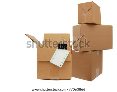 A checklist with storage boxes - stock photo