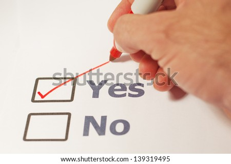 A checklist with the options of yes or no - stock photo