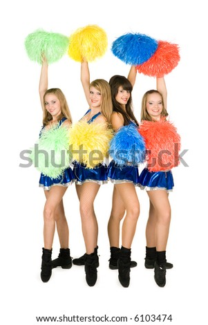 A cheer leaders team, isolated on white - stock photo
