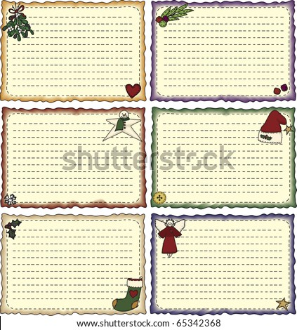 a cheerful collection of folk-art styled holiday note cards or recipe cards - stock photo