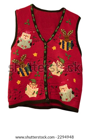 a cheerful holiday vest - stock photo