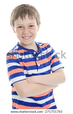 A cheerful smiling little boy Isolated on white background - stock photo