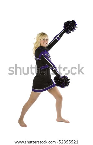 A cheerleader standing with one arm up and one down.  Both hands are holding a pom pom.
