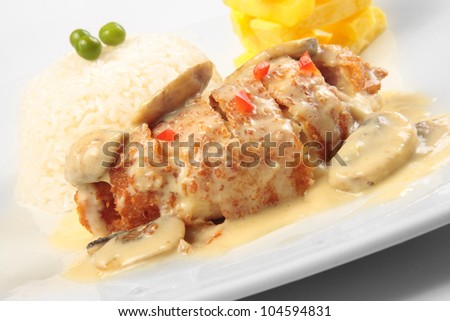 A cheese an tasty dish o international culinary - stock photo