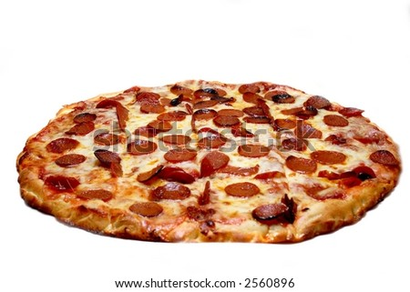 A cheese and pepperoni pizza pie, on white. - stock photo