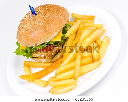 a cheeseburger with deep fried potatoes, closeup