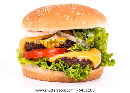 a cheeseburger with tomato, salad and onions on white background - stock photo