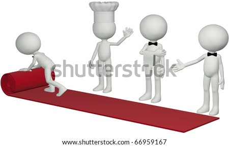 A chef waiter and concierge roll out a 3D hospitality red carpet for a hotel resort or restaurant to welcome a guest