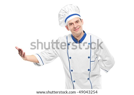 A chef welcoming isolated on white - stock photo