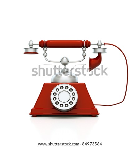 a cherry red retro phone on white