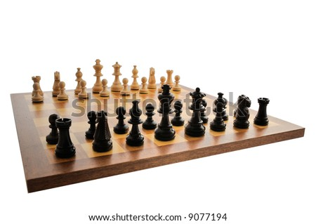 A chess board set up ready for a game