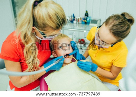A child at the dental clinic