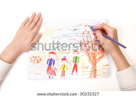 a child draws is family - stock photo