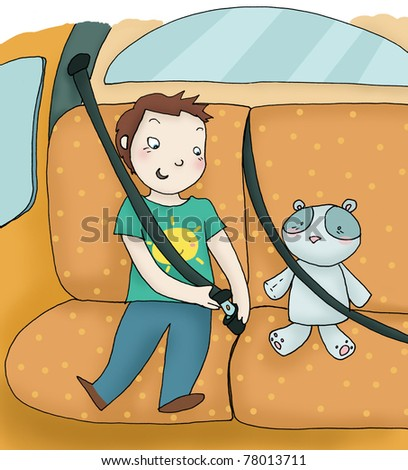 A child fastens the seat belt. Digital