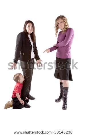 A child is at work with her mother and boss doesn't like it. - stock photo