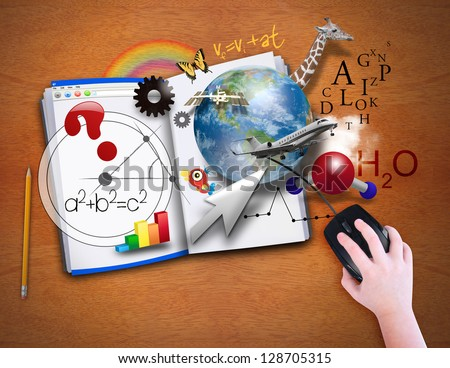 A child is looking at an open book as a computer with math, science and animals coming out for a school or e learning concept. - stock photo
