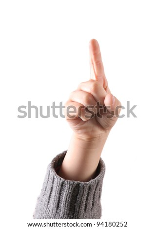 A child is pointing up with his forefinger, meaning number one or the best, isolated on white background - stock photo