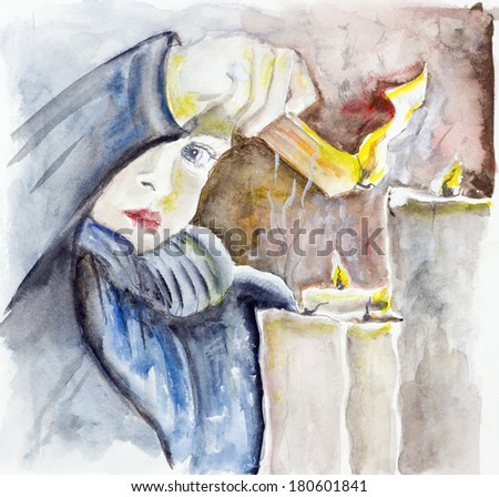 A child lights a candle and prays for peace. Handmade square watercolor painted art  illustration