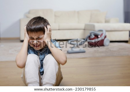 A child not willing do a homework - stock photo