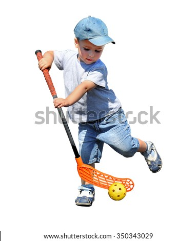 A child plays floorball.Stick and ball games in floorball.The isolated image on a white background - stock photo