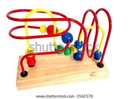 A child's bead roller coaster toy in primary colors - stock photo