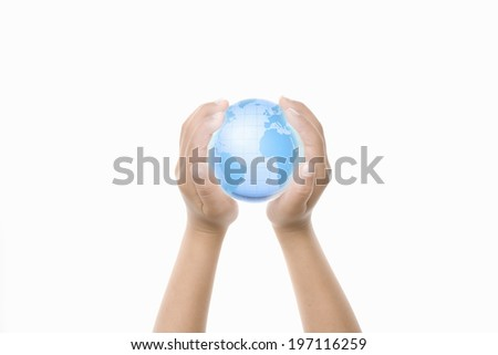 A Child'S Hands Holding A Globe