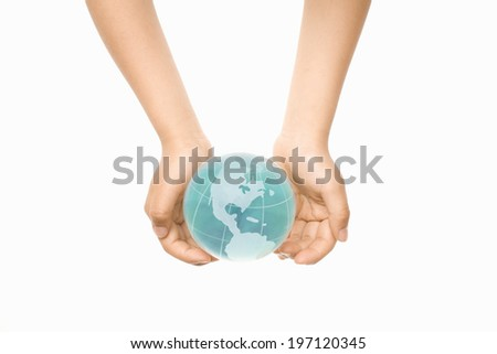 A Child'S Hands Holding A Globe - stock photo